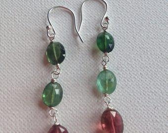 Tourmaline earrings, drop earrings.