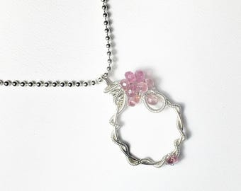 Pink Tourmaline Wire Wrapped Pendant, Sterling Silver Gemstone Necklace, Spring Collection