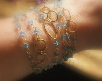 "Blue Topaz Necklace, Long Layering Wrap, Gold Fill, 44"", or Six Strand Bracelet"