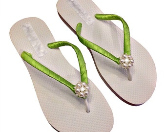 Lime Green Flip Flops - Bridesmaid Flip Flops - Pearl Flip Flops - Beach Wedding - Lime Green Wedding - Bridesmaid Gift, 30 Colors Available