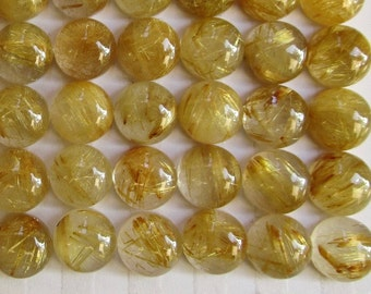 AAA Gold Rutilated Quartz Cabochon 8mm Round, Natural Quartz ,Buy More And Save