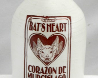 bat's heart bottle ceramic handmade