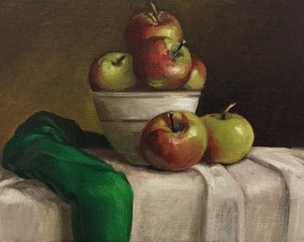 "Petite Original Oil Painting, Realism, Crabapples with Green Drapery, 5"" x 7"" on linen panel"
