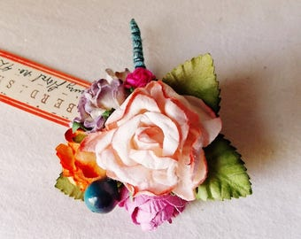 Peach Sugar Plum Tangerine Blue Roses berries Mixed bunch Vintage style Millinery Flower spray Bouquet floral corsage