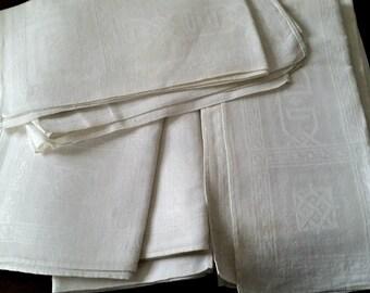 12 Antique Linen Napkins, White Damask Greek Key border, checkerboard center, vintage fabric supply