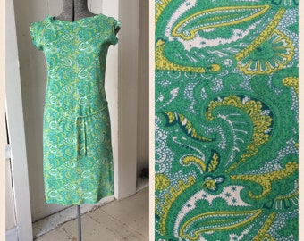 1960s Mod Paisley Chemise Dress with Belt Stretch Nylon Knit Boat Neck  psychedelic Green Yellow Size Large
