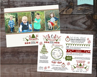Items similar to Photo Christmas Card Infographic, Greeting ...