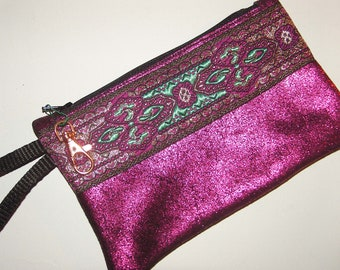 Sparkly Magenta & Sea Green LEATHER Zip Wristlet Bag w/Embroidered Trim