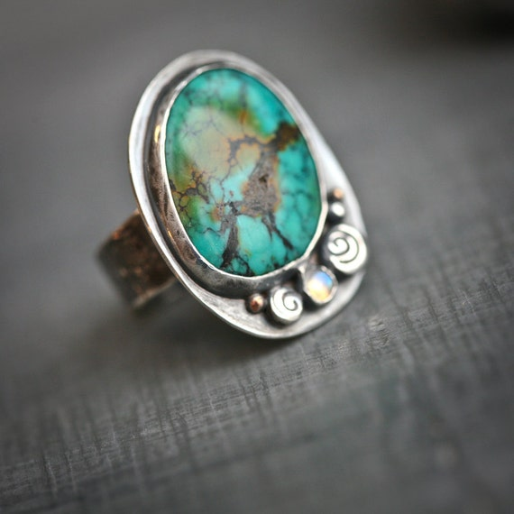 Turquoise Hand Fabricated Sterling Silver Ring with Copper Accent