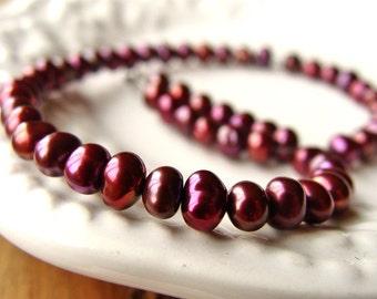 Red Brown Nugget Pearls, Brown Freshwater Pearl, Brown Red Cultured Pearl, Small Nugget Pearl, 4mm, (56), (#1), 10% off use code SAVE10
