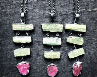 Ruby crystal necklace   Raw ruby necklace   Green kyanite necklace   Raw mineral necklace   Rough ruby crystal pendant