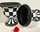 Painted urn planter // whimsical painted planter urn // checkered urn