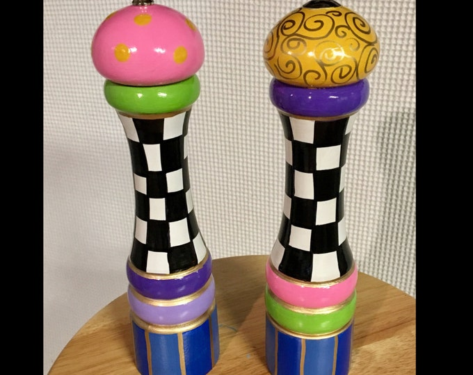 10 inch pepper salt mill // Painted salt pepper set // Whimsical Painted
