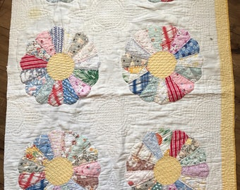 Vintage Patchwork Quilt, Newborn Photography, Basket Stuffer, Prop