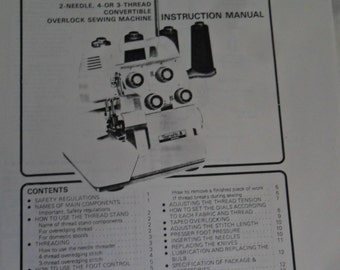 Vintage 1984 Bernette MO-203 1-Needle, 3-Thread Overlock Sewing Machine Instruction Manual