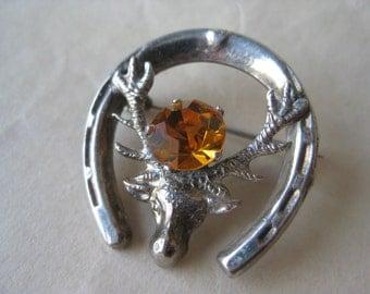Elk Deer Horseshoe Brooch Amber Sterling Silver Rhinestone Scottish Vintage Pin 925 WBs
