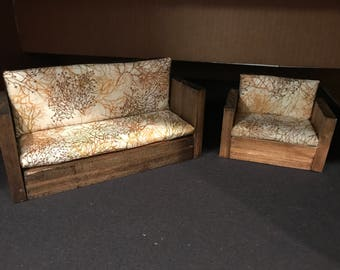 One inch Dollhouse Miniature Sofa and Chair Set