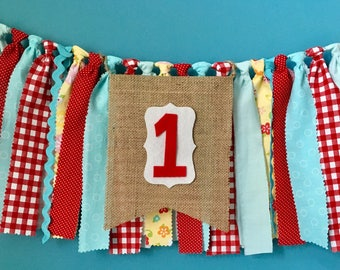 Farmers Market rag banner high chair banner carnival vintage picnic photo prop 1st Birthday cake smash birthday party decor red aqua yellow