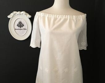 Off The Shoulder TOP or DRESS - Shortsleeved - White Embroidered Fabric - Plus size, Petite - Made in any Size - Boutique Mia