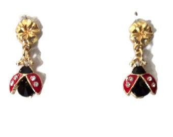 """14K Gold Vermeil Plumeria Red Black Gold Lady Bug Post Earrings, 7/8"""", Dangle Pierced, Gift for Her, Lady Bug jewelry"""