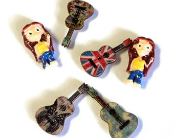 Hippies with Guitars Magnet Set, 6 Pieces, Handmade, Upcycled Wooden Buttons