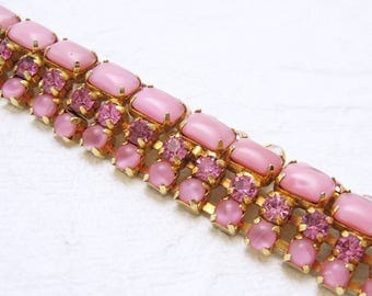 Wide Rhinestone Domed Pink Bracelet Warner Vintage Fifties Jewelry G6571