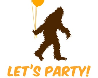 Sasquatch and Balloons Birthday Party Invitation -- Personalized and Printable