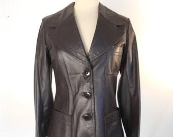vintage Leather Coat - Chocolate Brown, Western Fitted CULTI Sz 4, Euro 36 - #013