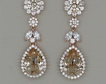Chandelier Earrings, Champagne Bridal Earrings,Swarovski  Earrings, Bridesmaids Gift, Rose Gold earrings,Hochzeits Ohrringe,Brautschmuck