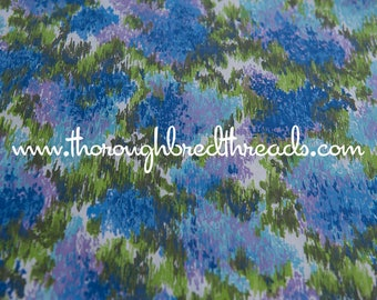 """Colorful Abstract - Vintage Fabric 50s 60s 36"""" wide New Old Stock Purples Blues Greens"""