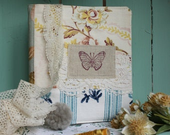 Photo album 40 photos antique French and English fabrics floral blue butterfly