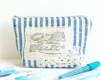 Multipurpose pouch antique blue stripe hemp