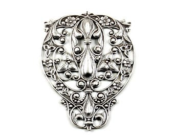 Art Nouveau Filigree Centerpiece Flourish in Antiqued Silver Plated over Brass - Large Size - Neo Victorian, Bohemian, Floral Motif