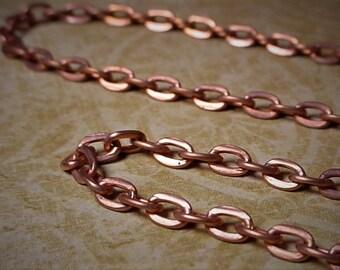Lot Sale Vintage Copper Plated Solid Steel 3mm x 4mm Cable Chain Flat Oval Rectangle Links Men Women Necklace Fringe Bracelet Jump Ring CB34