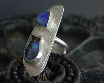 raw opal silver ring blue green organic unique handmade artisan silver jewelry OOAK