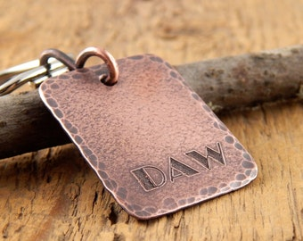Initials keychain, engraved key chain, personalized gifts for him, copper keychain, key fob with monogram, guy gifts.