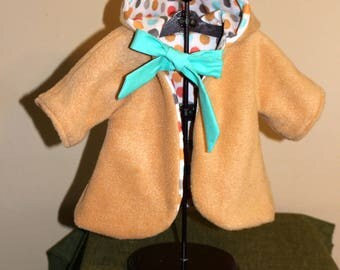 Reversible hooded coat for 18 inch dolls