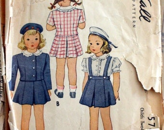 1944 McCall sewing pattern #5769; Girl's size 2; Two-piece suit and blouse - PATTERN IS COMPLETE