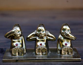 Three Wise Monkeys Paper Weight or Ornament,  See No Evil Monkeys