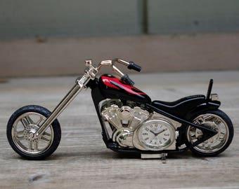 Motorcycle Chopper Shelf or Desk Clock Watch