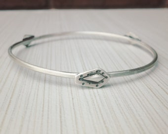 Sterling Silver Bangle with Handstamped Silver Diamonds