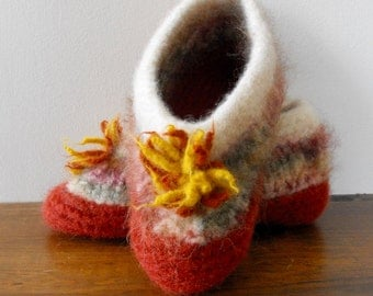 Felted Hand Knit Wool Slippers  for Women Teenagers
