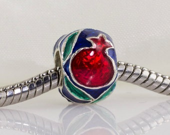 Judaica Jewelry Bead Pomegranate Sterling Silver Navy Blue Red Green Enamel Large Hole Bead for European Bracelet Jewish Gift