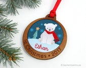 Baby's First Christmas Ornament Personalized Hand Embroidered Custom Polar Bear Holiday Keepsake for 2017