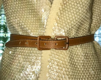 40's thin leather belt vintage 1940's cognac brown