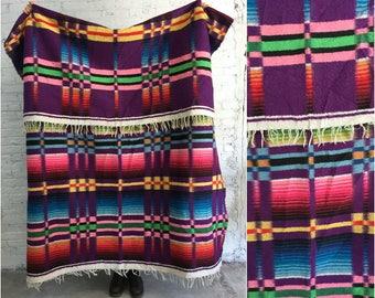 vintage mexican blanket / southwestern Native American print / boho home decor throw