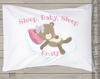 Personalized sleep baby girl custom childrens pillowcase PIL-043-girl