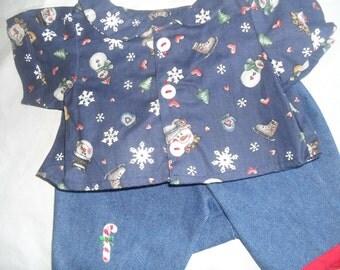 Christmas Set of Pants Shirt fits B A B or H K HandMade Bear Clothes