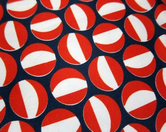 Vintage Polyester Fabric, 2.75 Yards Red, White, and Navy Blue Apparel or Lining Fabric with Groovy 1970s Mod Circle, Red Ball or Dot Design