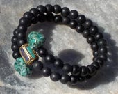 Matte Black Onyx Mala Bracelet- prayer beads- rosary with Turquoise Accents - 54 beads